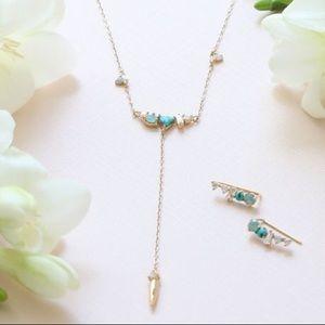 Petits Bijoux Crystal Cluster Y Necklace